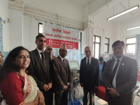 Everest Bank hands over Hemodialysis Machine to Manipal Hospital
