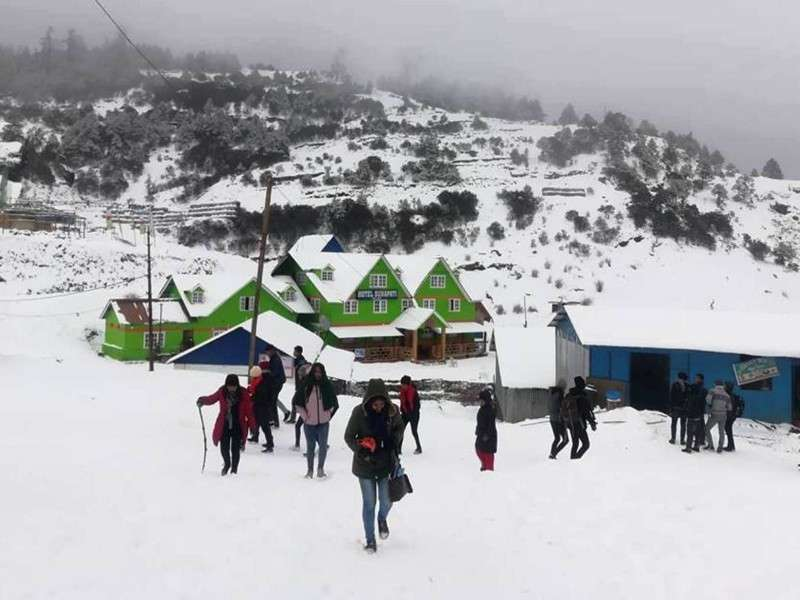 Kuri Bazar in Dolakha district covered in a blanket of snow after snowfall on Saturday. Photo: Nabaraj Shivakoti/NBA